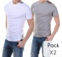 Pack Col Rond*2 Blanc/gris